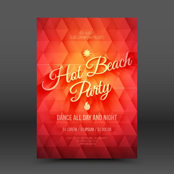 Hot beach party flyer template vector 01