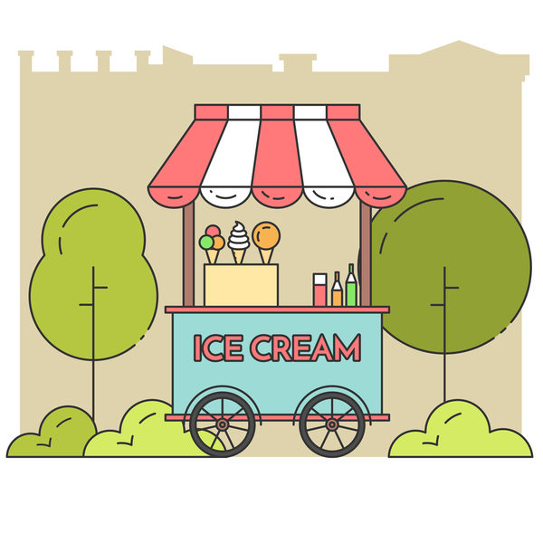 Ice cream store vector material 01