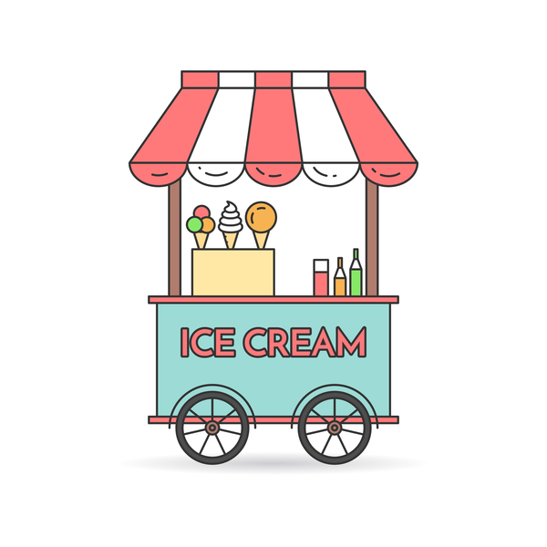 Ice cream store vector material 03