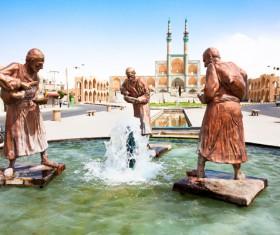 Iranian royal mosque fountain sculpture Stock Photo