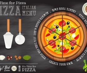 Italian pizza menu template with blackboard vectors 01