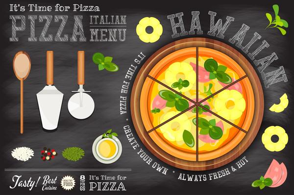Italian pizza menu template with blackboard vectors 02