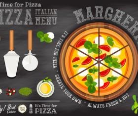 Italian pizza menu template with blackboard vectors 03