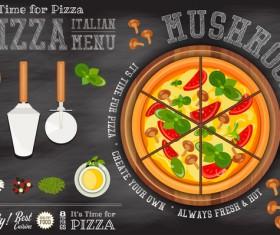 Italian pizza menu template with blackboard vectors 04