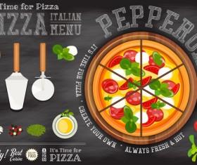 Italian pizza menu template with blackboard vectors 05