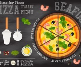 Italian pizza menu template with blackboard vectors 06