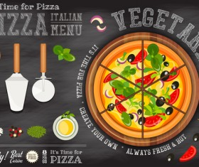 Italian pizza menu template with blackboard vectors 07