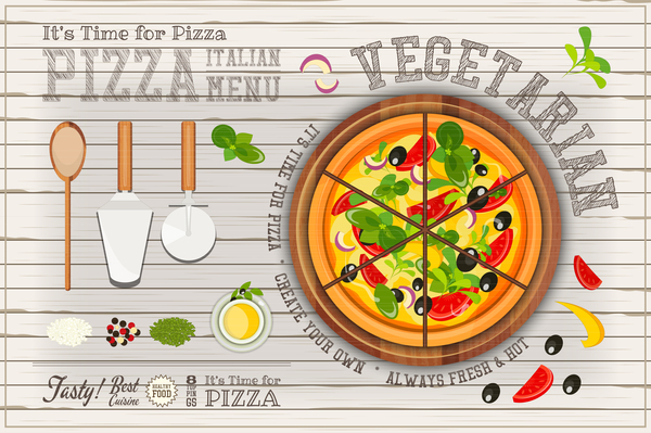Italian Pizza Menu With White Wooden Background Vectors 01