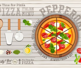 Italian pizza menu with white wooden background vectors 02