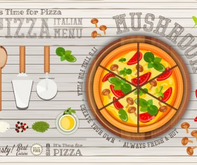 Italian pizza menu with white wooden background vectors 03