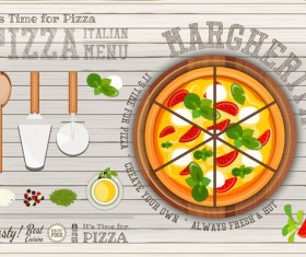 Italian pizza menu with white wooden background vectors 04