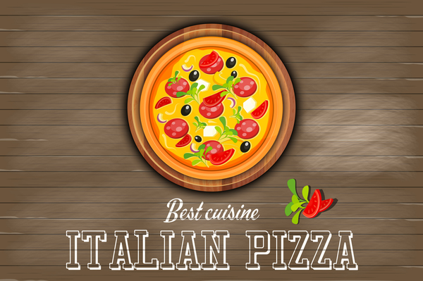 Italian pizza with wooden background vector