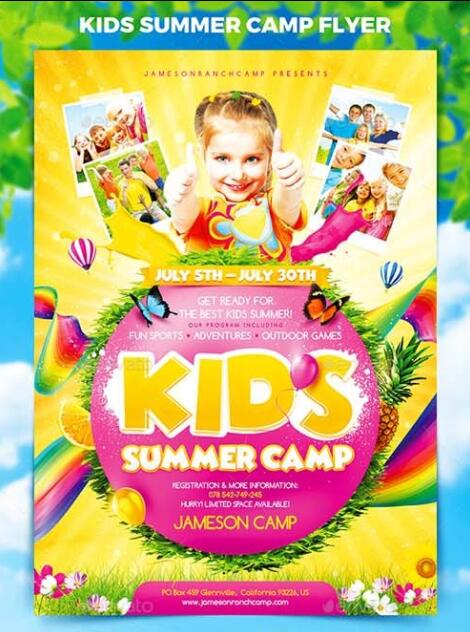 Kids Summer Camp Flyer PSD Template PSD Templates Free Download - Summer camp brochure template