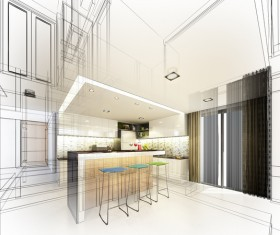 Kitchen line drawing outline decoration effect Stock Photo