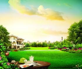 Lakeside villas Stock Photo