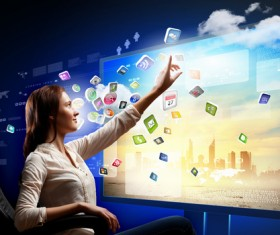 Large screen in front of high-tech management Stock Photo 01