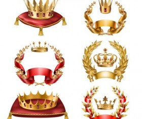 Laurel and gold crown luxury vector