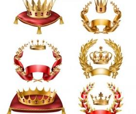 Laurel and gold crown luxury vector