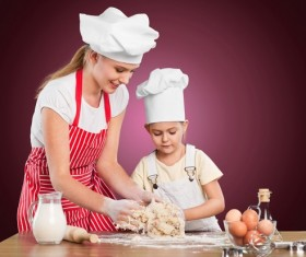 Learn dough with her mother's daughter Stock Photo