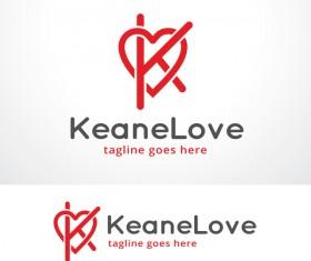 Letter K Love logo vector