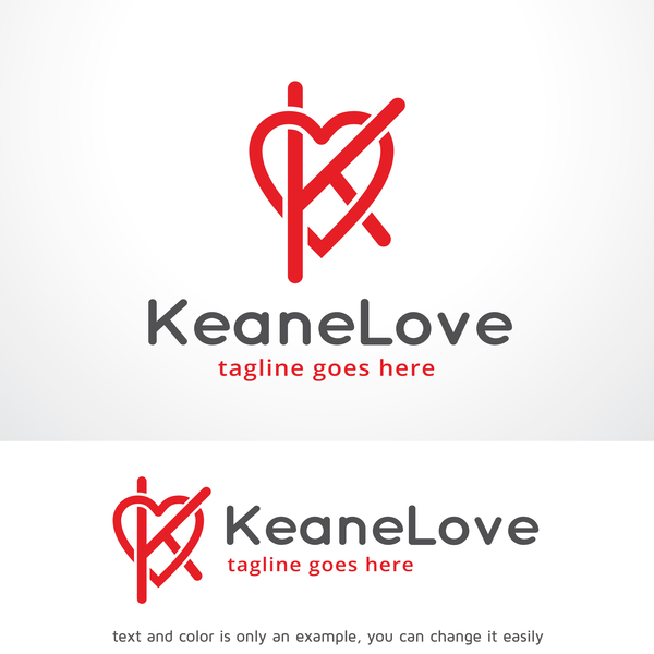 Letter K Love logo vector
