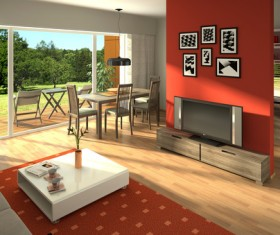 Living room TV coffee table with tables and chairs Stock Photo