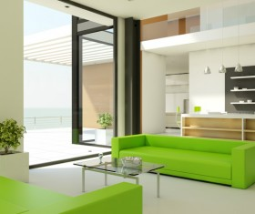 Living room bar with sofa coffee table Stock Photo