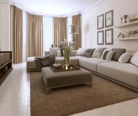 Living room decorated with flowers and sofas Stock Photo