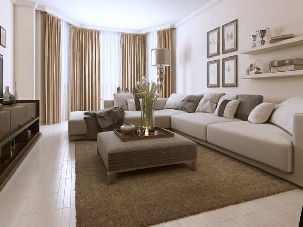 Living Room Decorated With Flowers And Sofas Stock Photo Part 82