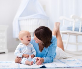Look at the mothers baby Stock Photo