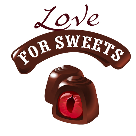 Love with sweet labels vector material 01