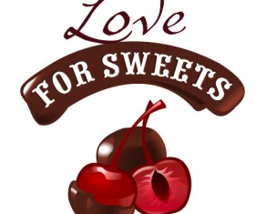 Love with sweet labels vector material 02