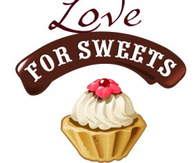 Love with sweet labels vector material 03