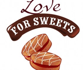 Love with sweet labels vector material 04