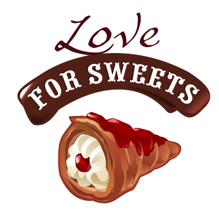 Love with sweet labels vector material 05