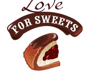 Love with sweet labels vector material 07