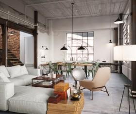 Luxury Industrial Loft Apartment Stock Photo 03