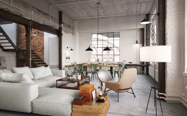 Luxury Industrial Loft Apartment Stock Photo 03 free download