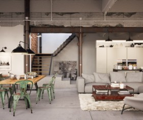 Luxury Industrial Loft Apartment Stock Photo 04