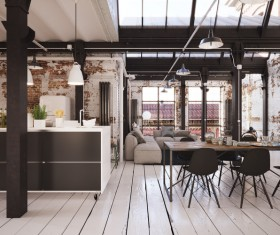 Luxury Industrial Loft Apartment Stock Photo 06