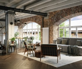 Luxury Industrial Loft Apartment Stock Photo 07