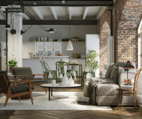 Luxury Industrial Loft Apartment Stock Photo 09