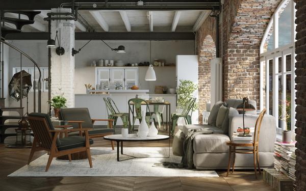 vintage style loft downtown apartment – Industrie Altbau Loft ...