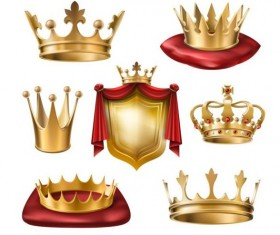 Luxury gold crown with shield vector