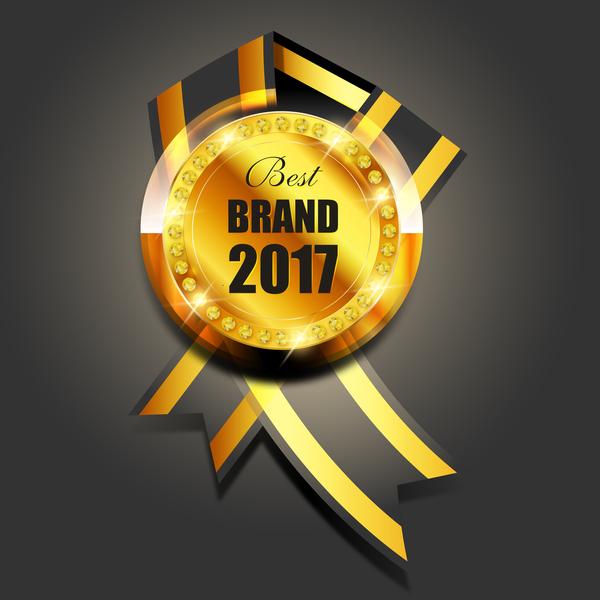 Luxury golden badge design vector 03