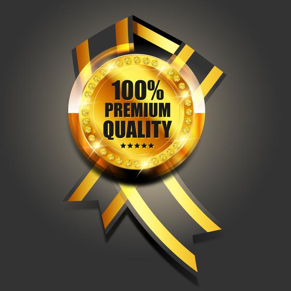 Luxury golden badge design vector 04