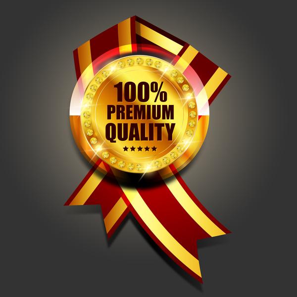 Luxury golden badge design vector 05