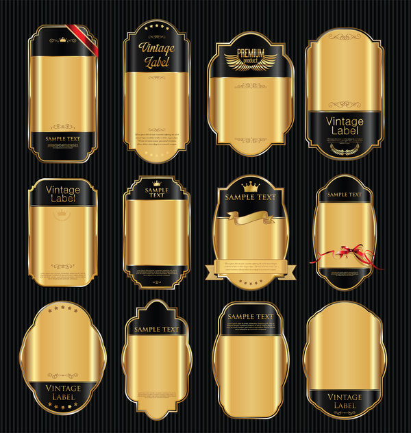 Luxury golden with black blank labels vector