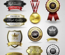 Luxury labels with badge and medals vector