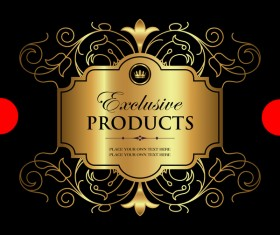 Luxury ornamental gold label vector material 01